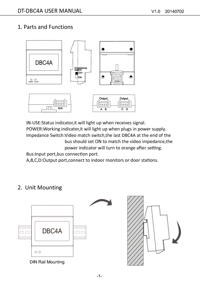 CDVI CDV-DBC4A instruction manual