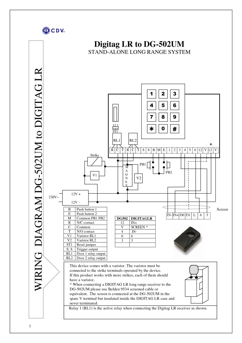 Instructions for DG502-M access control unit (Long Range Proximity)