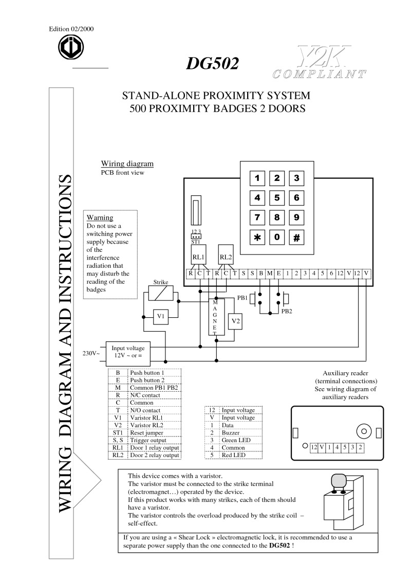 Hid Access Wiring Diagram Cdvi Installation Instructions Instruction Manual For Artdg502