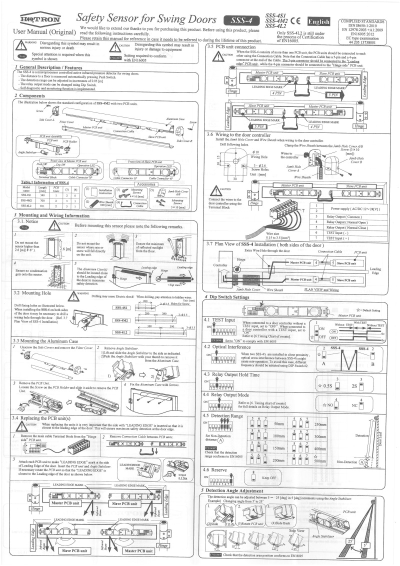 CDVI Safety Sensor Instructions Page 1