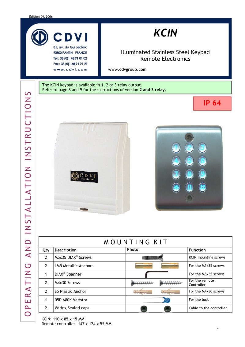 Instructions for KCIN keypad with remote elctronics