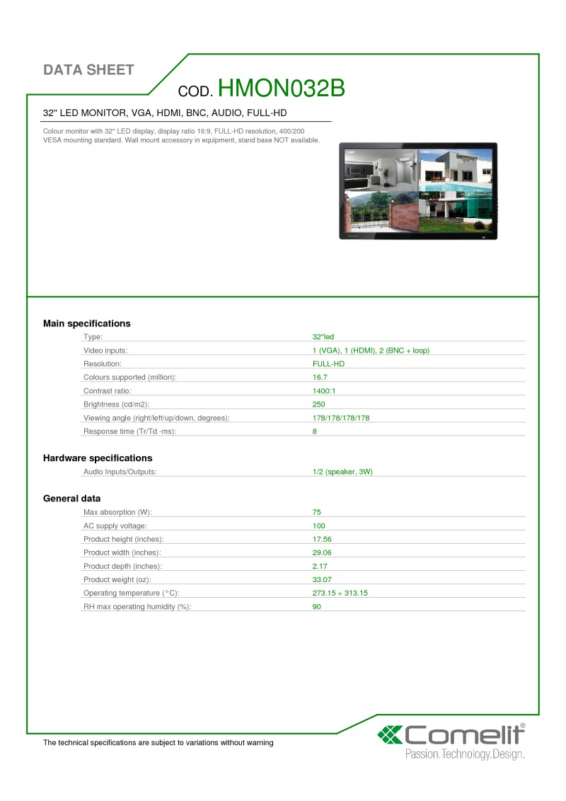 comelit cctv datasheets