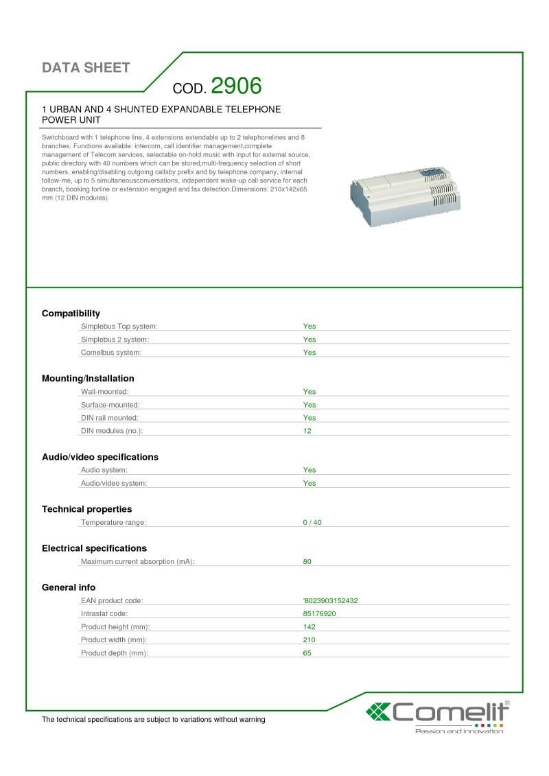 Comelit - Data Sheets