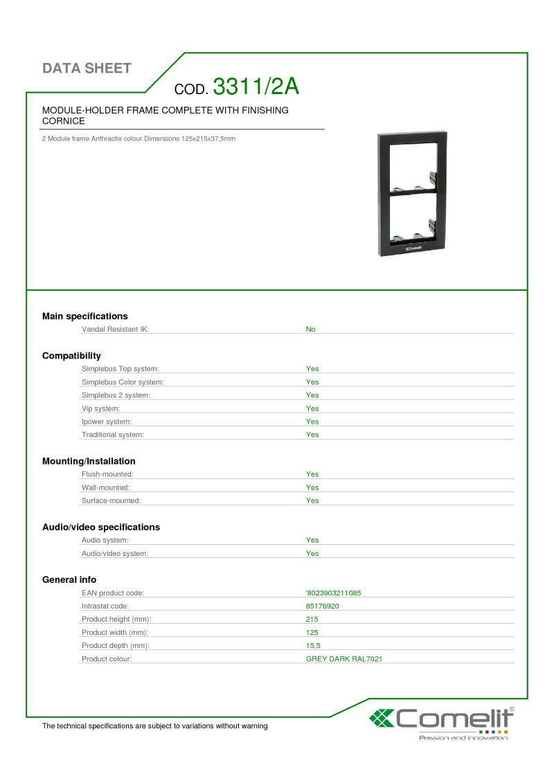 Comelit - iKall 2 Module Holder Frames with Cornice Anthracite