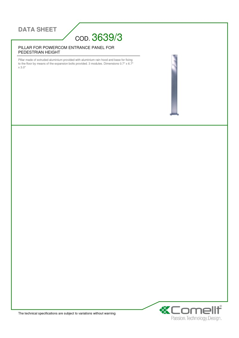 Comelit Pillar for Powercom entrance panel with 3 modules