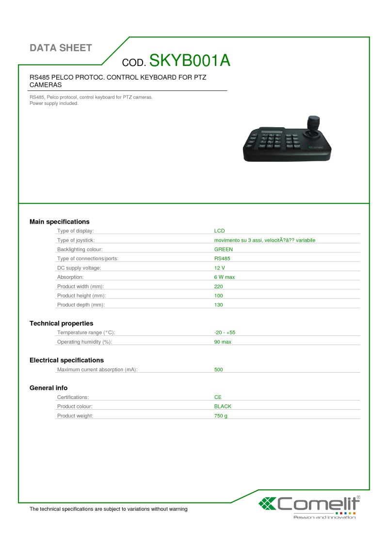 PTZ Control Keyboard, RS485, Pelco P/D