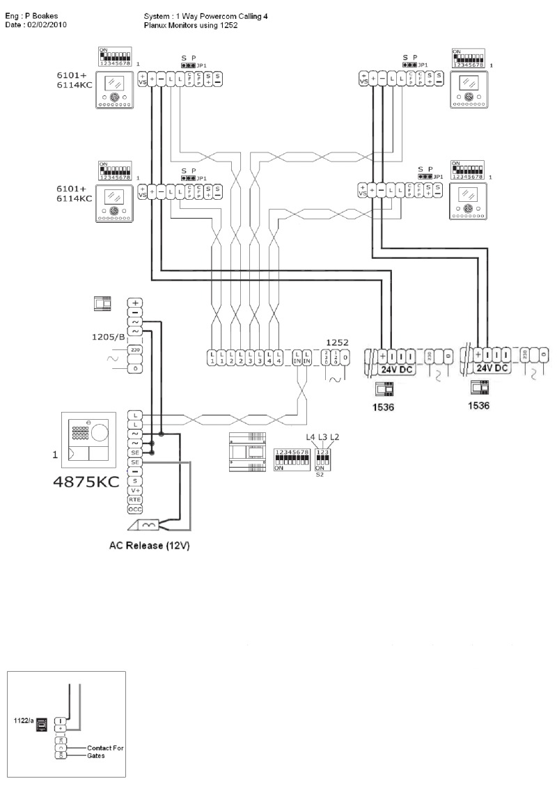 Comelit Wiring Diagrams Contact Diagram 1 Main Entry Panel Call Button Calling 4 X Planux Monitors Using 8