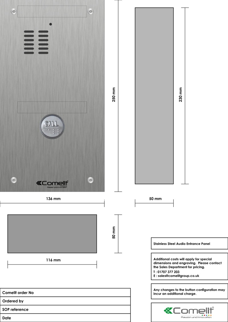 Comelit - VK4101-DDB engraving template