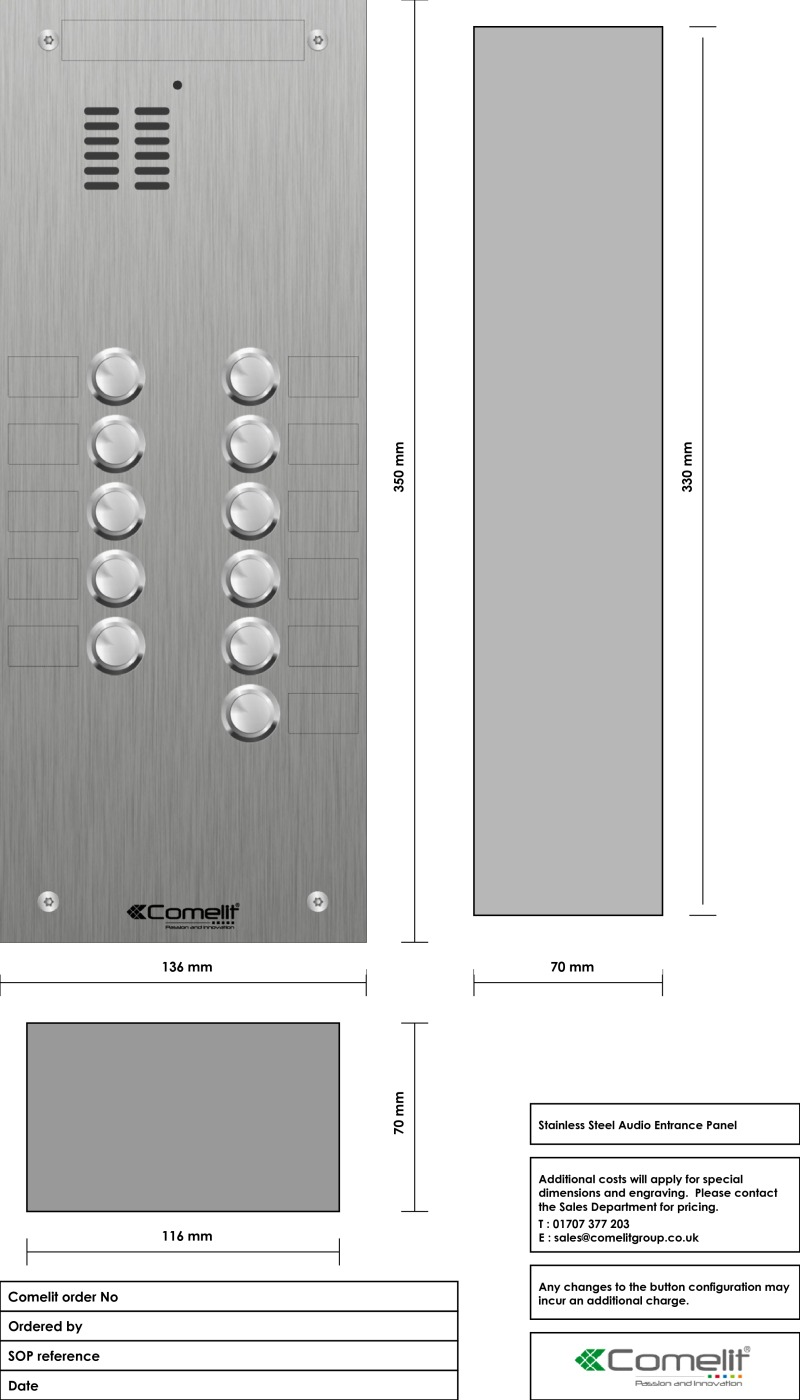 Comelit 11 button, VR s.steel engravable iKall audio panel