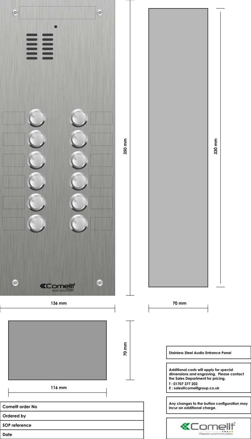 Comelit 12 button, VR s.steel engravable iKall audio panel