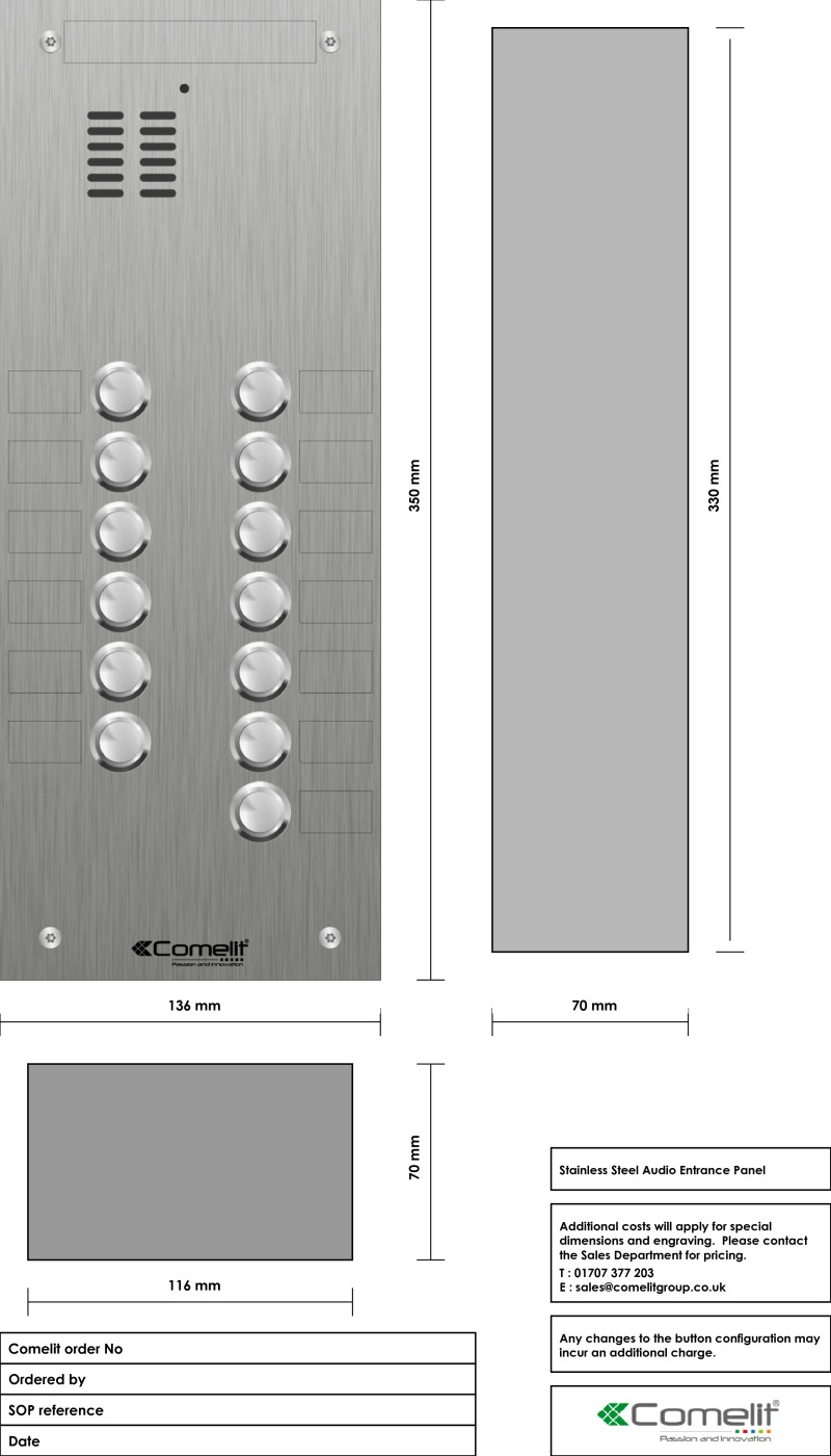 Comelit 13 button, VR s.steel engravable iKall audio panel