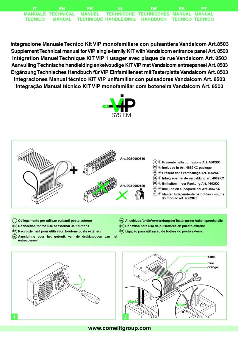 Comelit Installation Instructions Besta Van Wiring Diagram Technical Manual For Vip Single Family Kit With Vandalcom Entr