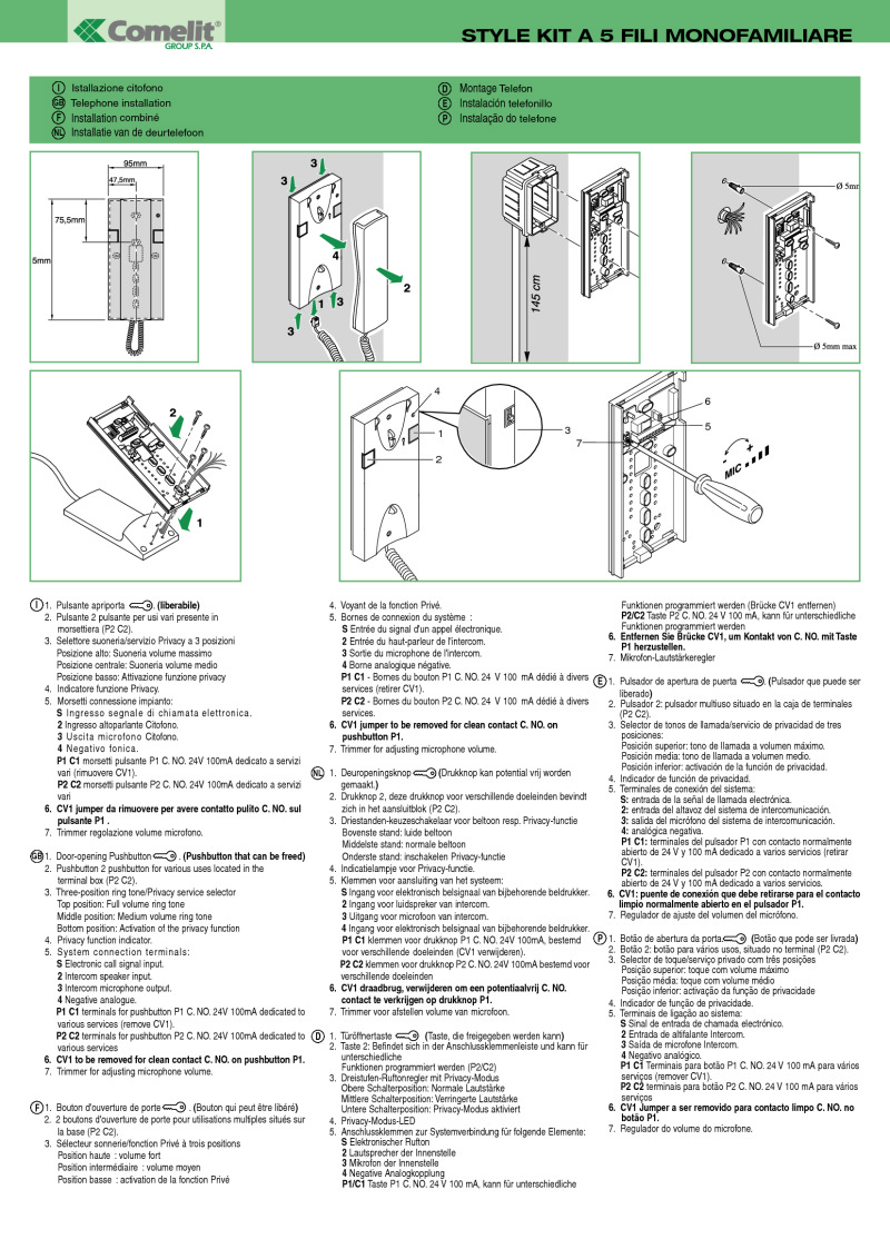 FT_KIT_05 comelit installation instructions comelit style 5 wiring diagram at couponss.co