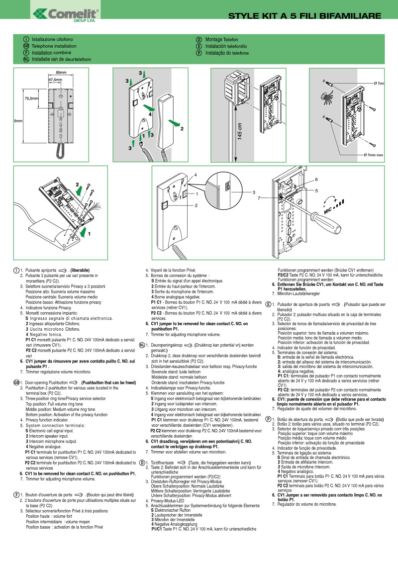 Comelit Installation Instructions For A New Telephone Wiring Diagram 8272 5 Wire 2 User Audio Kit Short Technical Manual