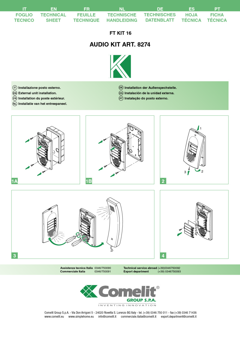 Comelit Installation Instructions Wiring Diagrams Audio Technica 8274 5 Wire 4 User Kit Short Technical Manual