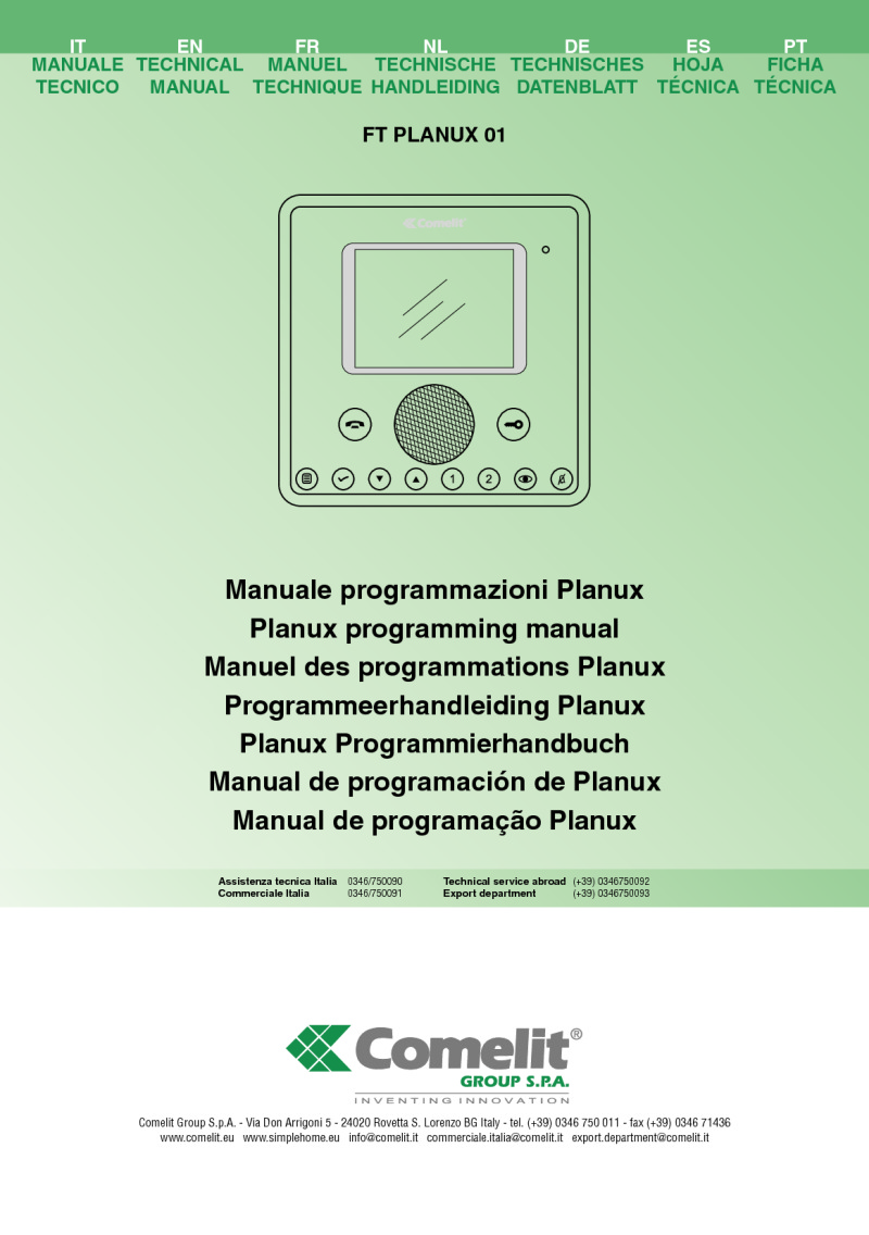 Comelit - Planux Colour Monitor for Simplebus in Black