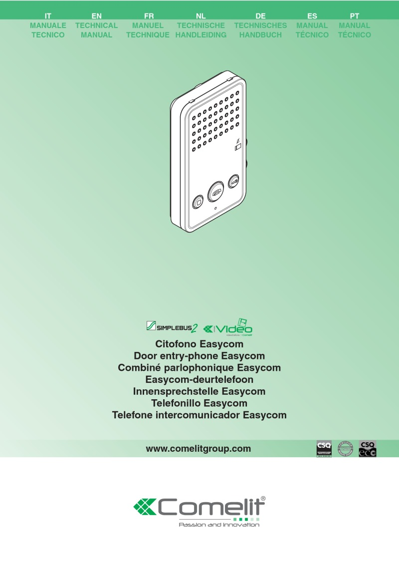 Comelit - Easycom Phone in White for Simplebus Systems