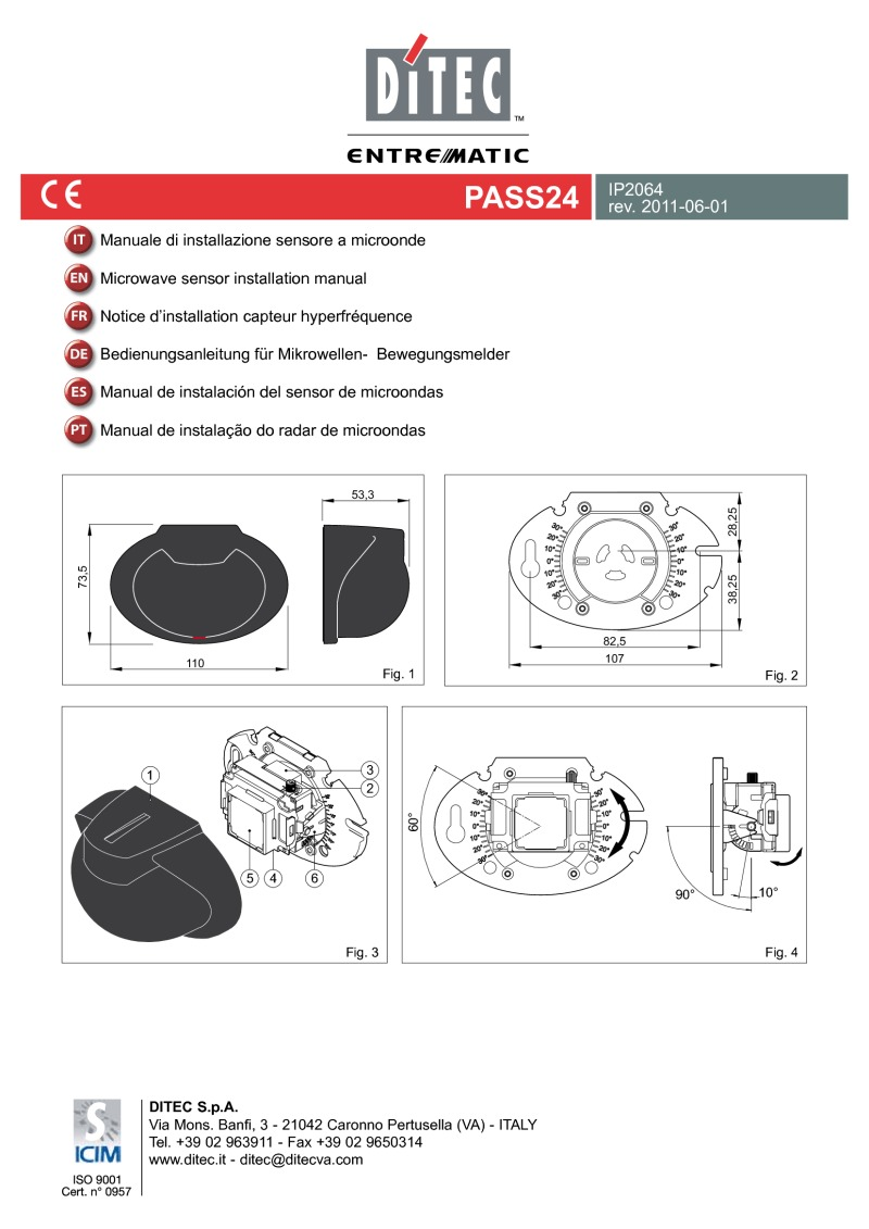 Ditec PASS24 Motion Sensor Installation Manual