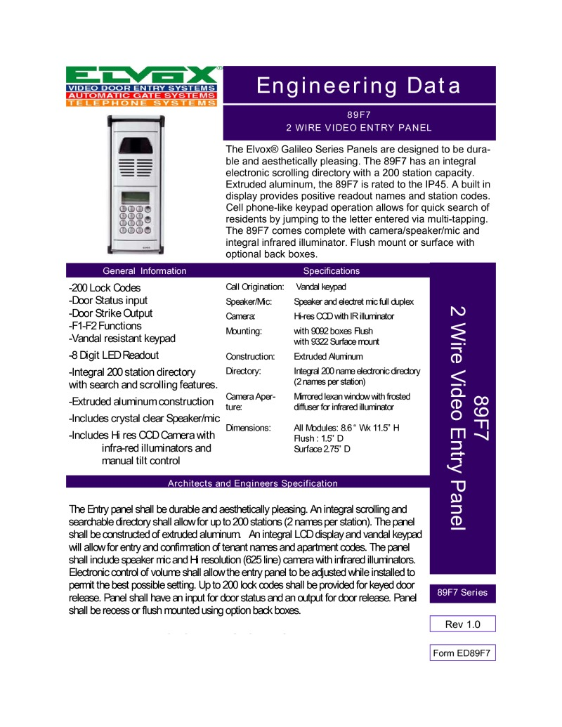 Elvox 89F7-RSS digital call panel brochure