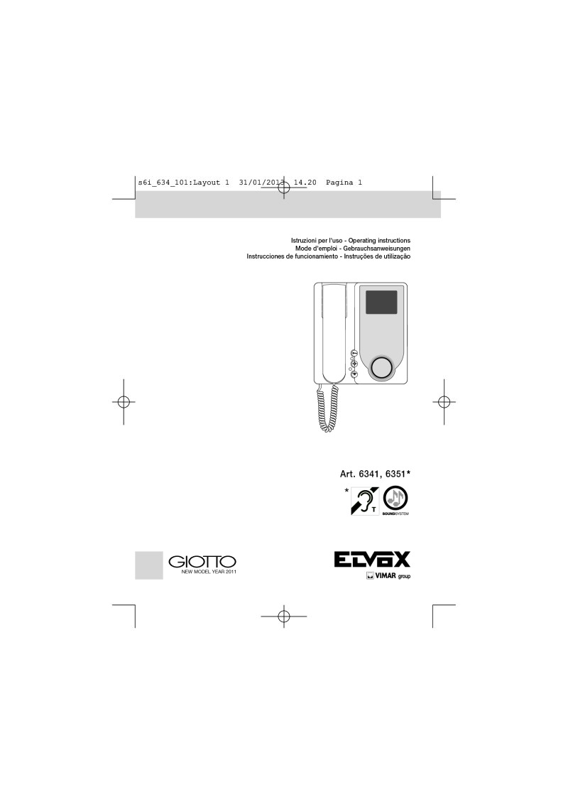 Elvox 6345 video monitor user manual