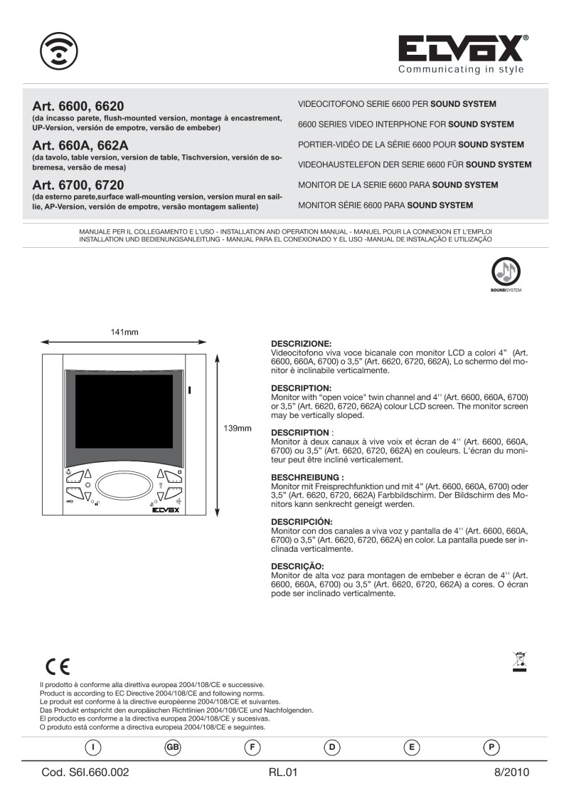 Elvox 6000 series user manual