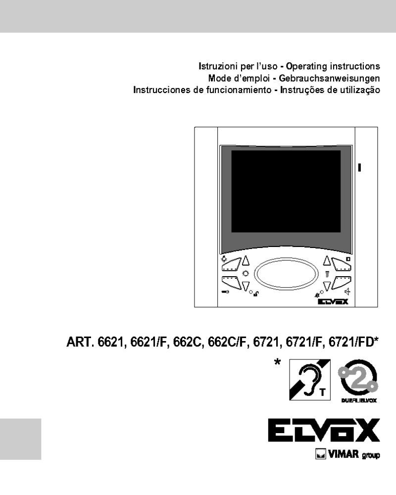 Elvox 6621, 6621/F, 662C, 662C/F, 6721, 6721/F, 6721/FD user manual