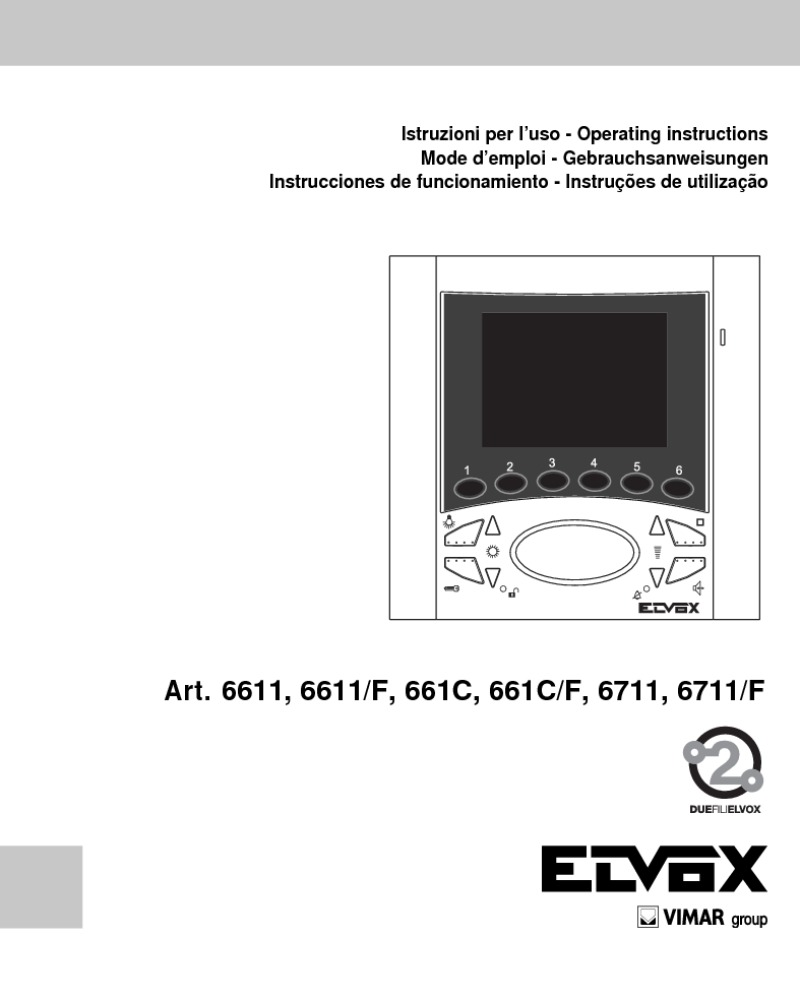 Elvox 6611, 6611/F, 661C, 661C/F, 6711, 6711/F user manual