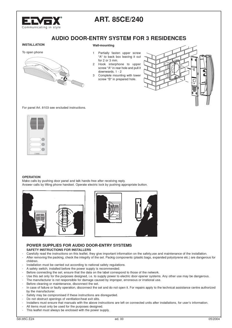 Elvox Wiring Diagrams 240 To Main Box Diagram 8103