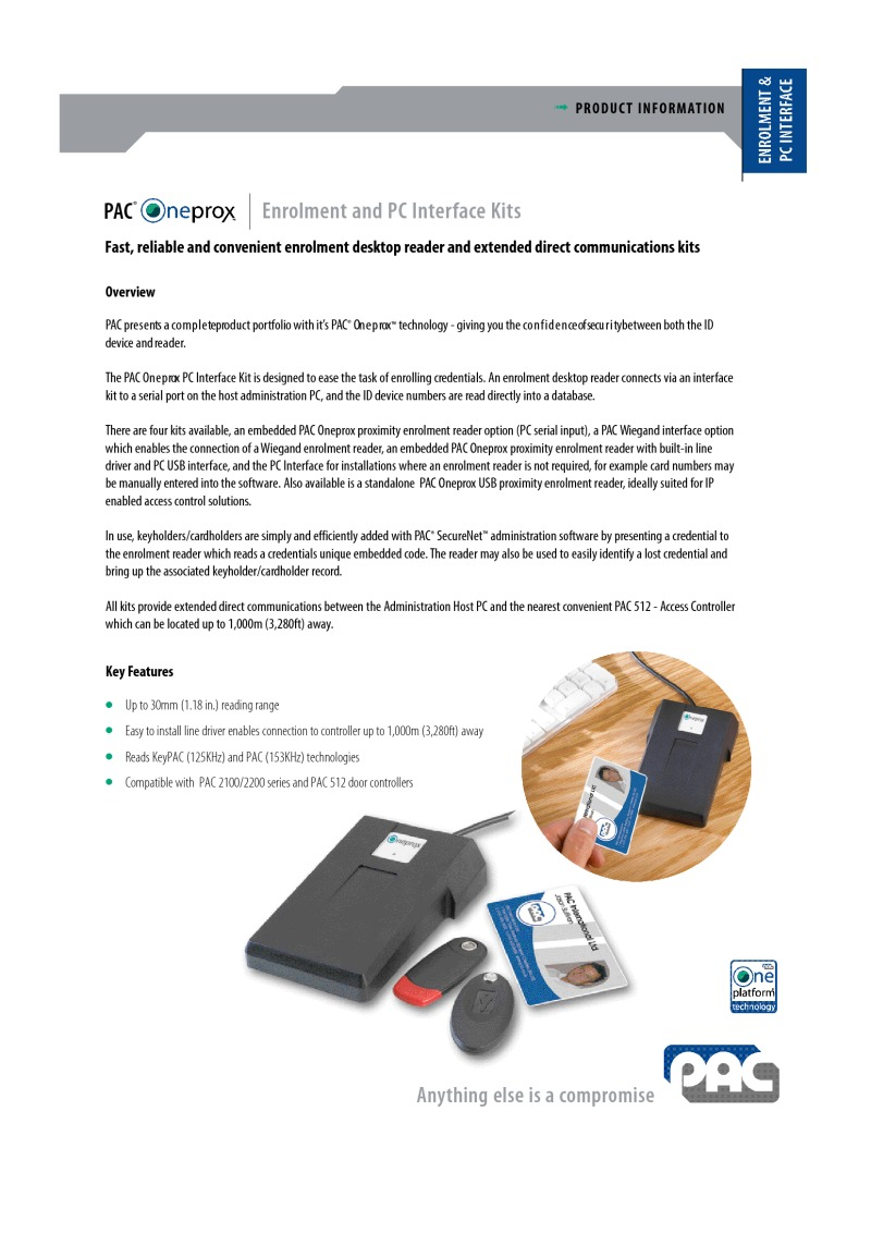 Entrotec datasheet for Oneprox office USB administration kit.