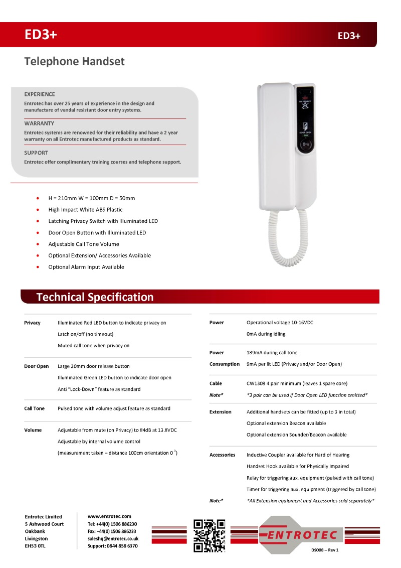 Aes Plastic Data Sheet Entrotec Ed3 Audio Handset With
