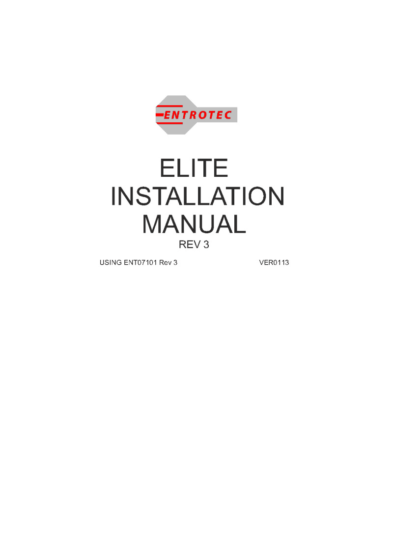 Entrotec installation guide for ASS07101/3/16SEV/T