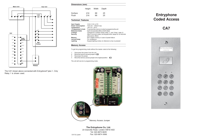 Entryphone Coded access keypad only