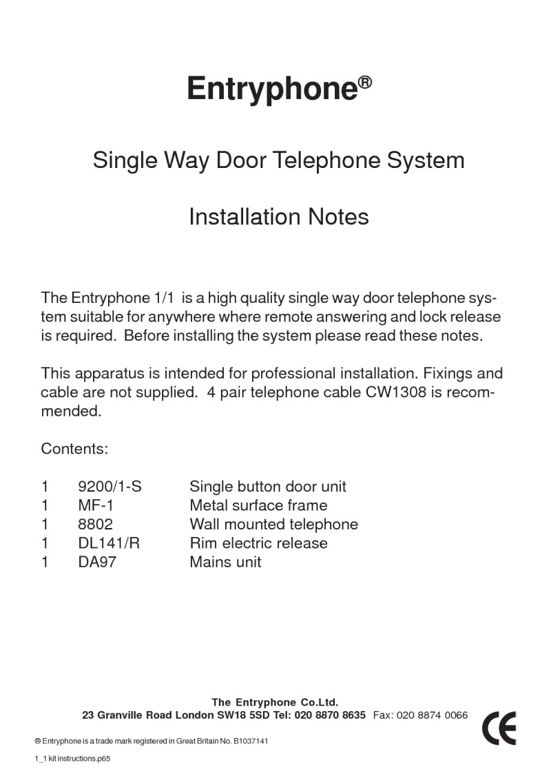 Entryphone installation Notes