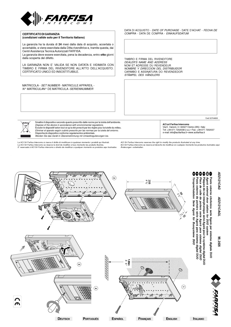 Farfisa Installation manual for AD2121CAGL