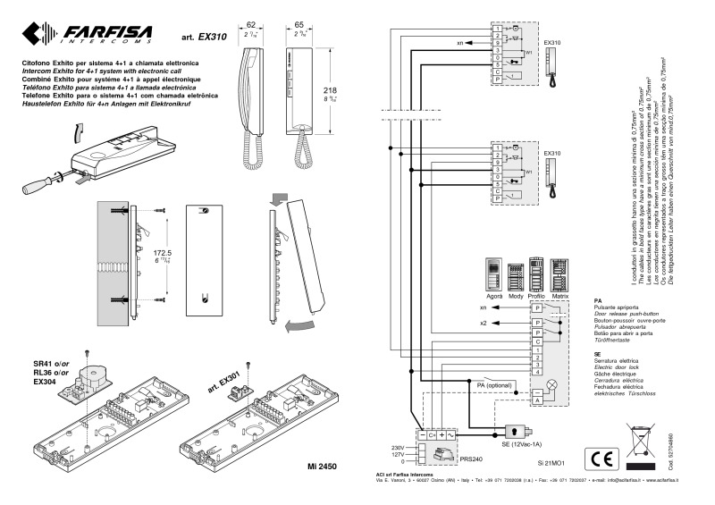 EX310_HANDSET farfisa installation instructions farfisa door entry wiring diagrams at fashall.co
