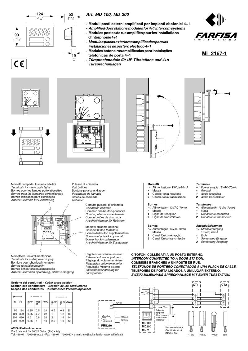 Farfisa instructions for MD200 Audio Module