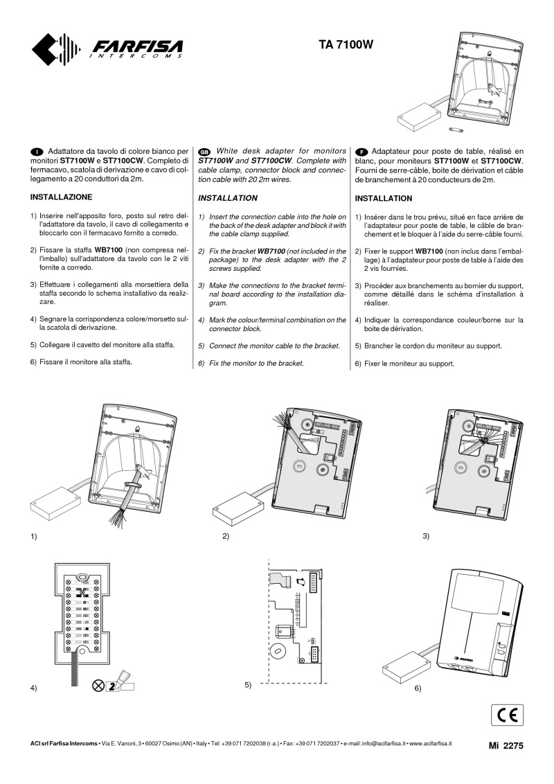 Farfisa Installation Instructions Connecting Logisty Daitem Intercoms To Cb1 Control Panel For Art Ta7100w