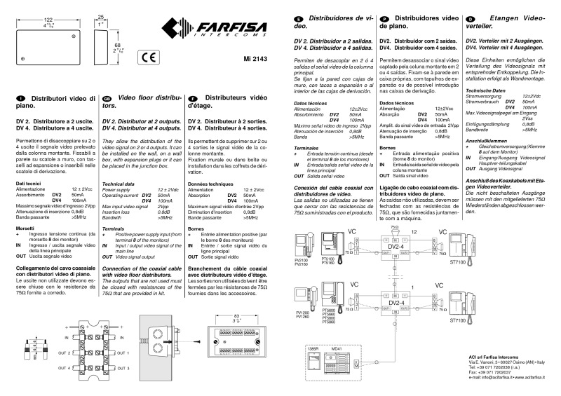 Farfisa 2-way video distributor (coax system)