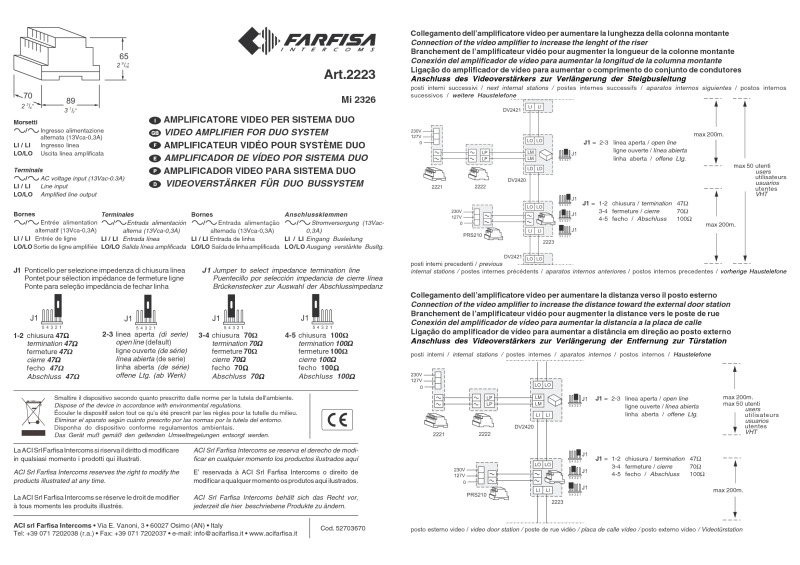 Farfisa instructions for Art. 2223