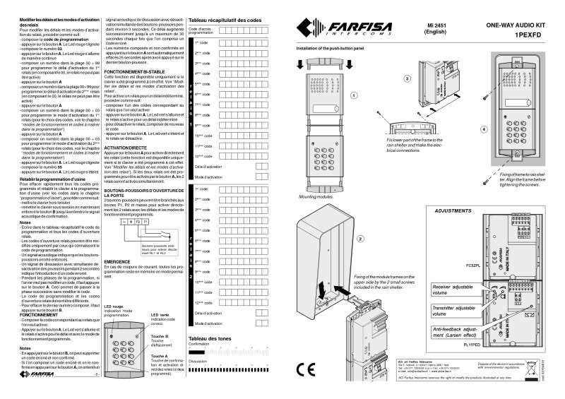 mi2451 farfisa 1pexfd farfisa profilo exhito 1 1 audio kit with keypad farfisa door entry wiring diagrams at fashall.co