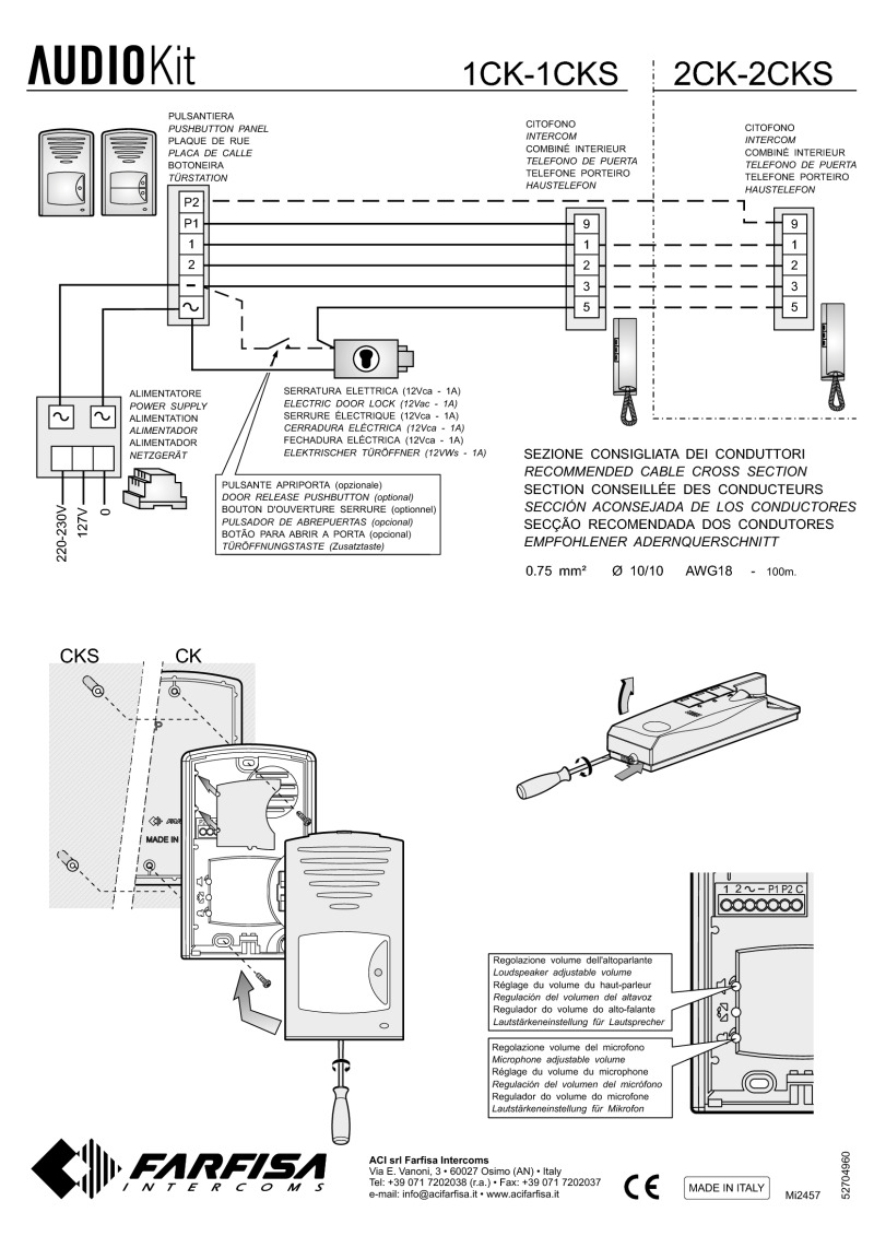 mi2457 farfisa 1cks farfisa clickit audio kit 1 way 4 1 surface farfisa door entry wiring diagrams at fashall.co