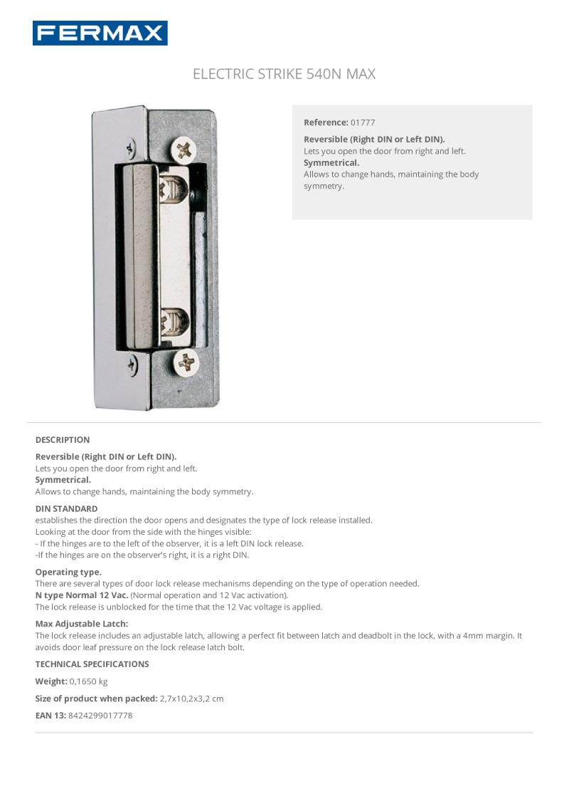 Fermax 01777 electric strike lock