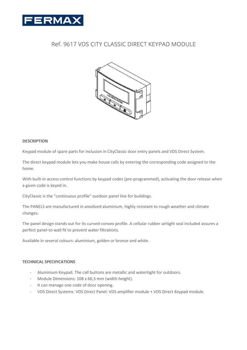 Fermax F 9617 Fermax Vds Direct Keypad Module A