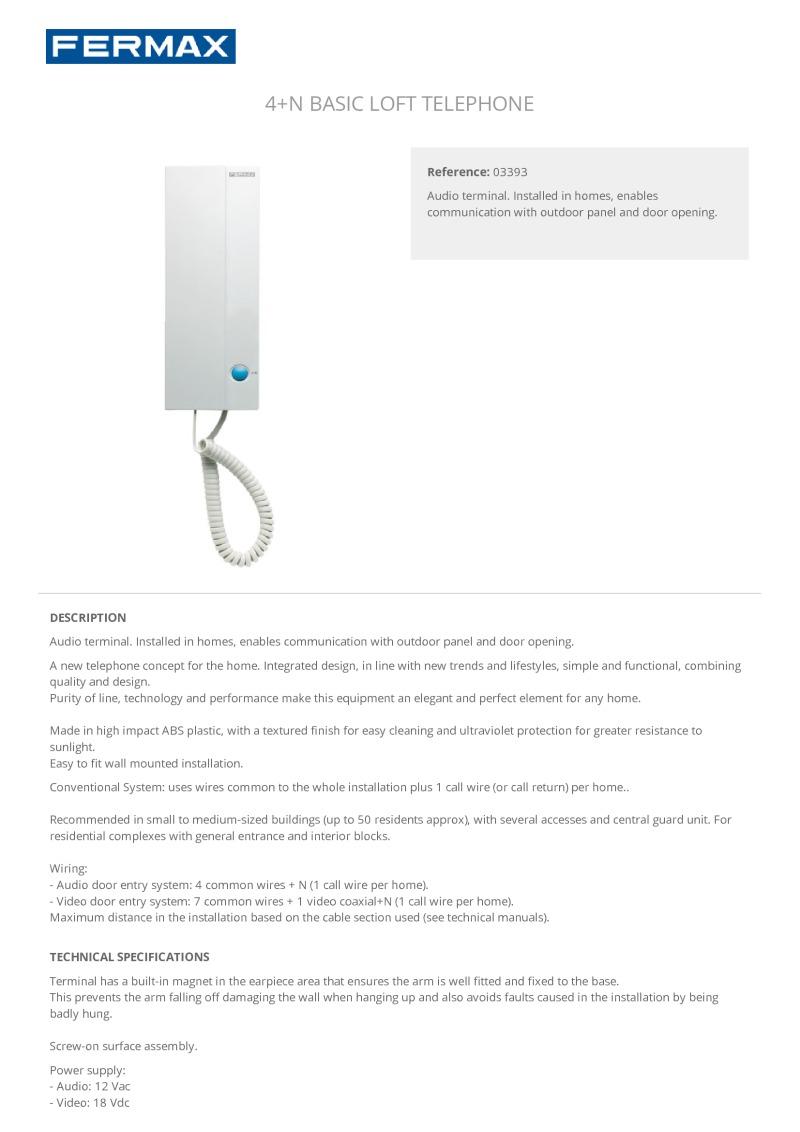 Fermax F 3393 Basic Loft Telephone Designed For 4 N Systems