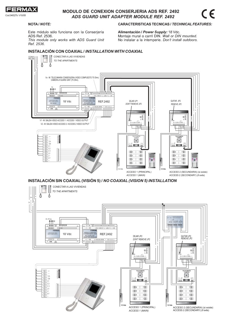 Fermax Installation Instructions Connecting Logisty Daitem Intercoms To Cb1 Control Panel For Vds Guard Connection Module Art 2492