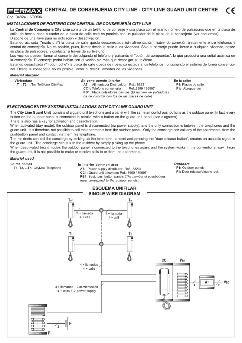 94824 Conserjeria Cityline V09_06 fermax installation instructions fermax cityline wiring diagram at aneh.co