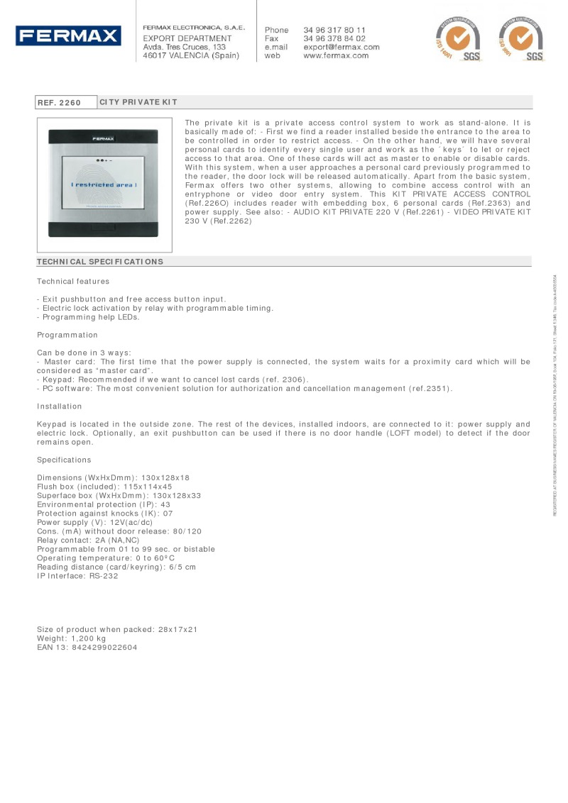 Fermax Brochures Connecting Logisty Daitem Intercoms To Cb1 Control Panel 2260 City Private Kit