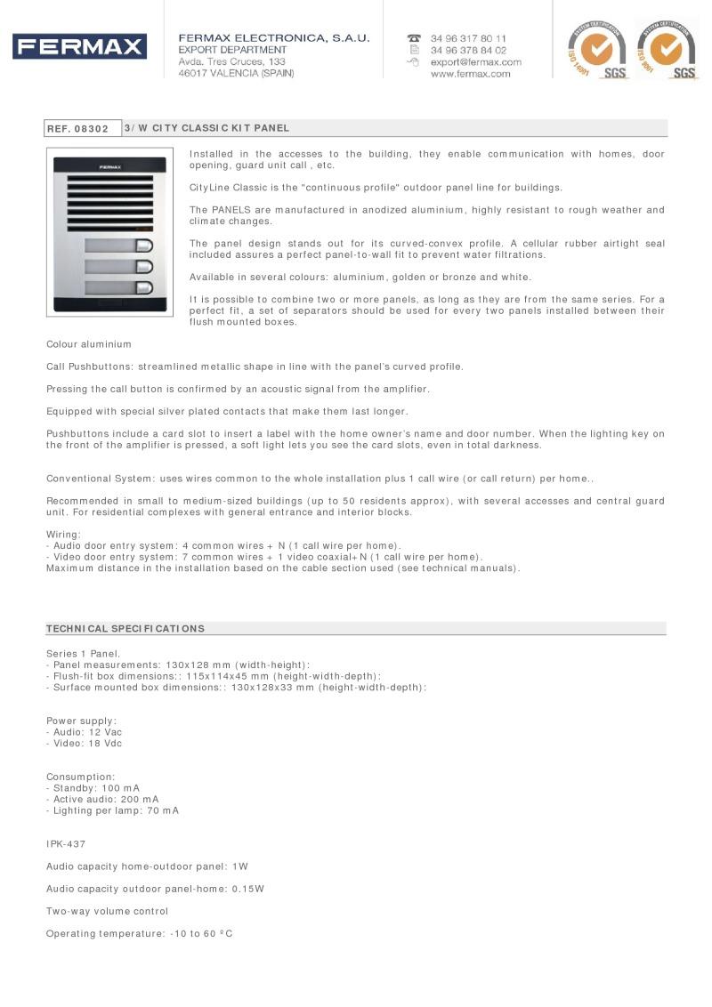 Fermax 8302 3 Way City Classic Audio Panel Wiring Red Black White Data Sheet