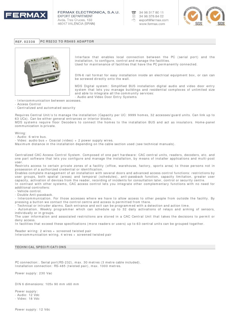 REF  02338 PC RS232 TO RS485 ADAPTOR Interface that enables