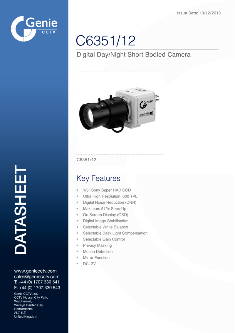 Digital Day/Night Box Camera Datasheet